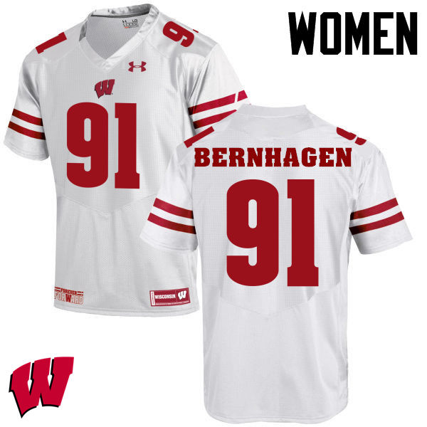 Women Winsconsin Badgers #91 Josh Bernhagen College Football Jerseys-White